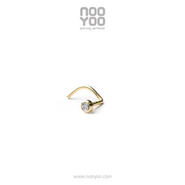 (30238) จิวจมูก Mini Nose Stud Cubic Zirconia - Spiral 18k Gold Yellow