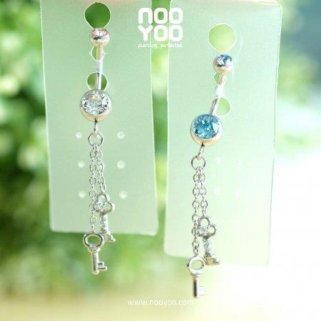 จิวสะดือ Crystal Small Key Dangling Surgical Steel