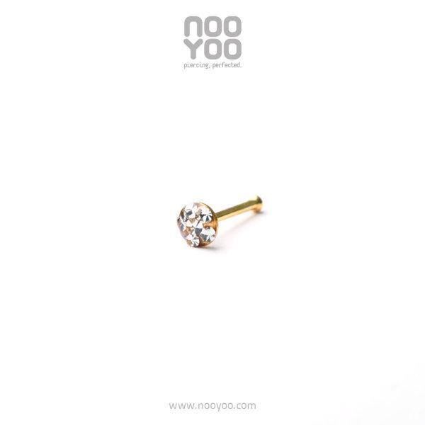 (30203) จิวจมูก Daisy Nose Barbell APR Crystal Gold Plated