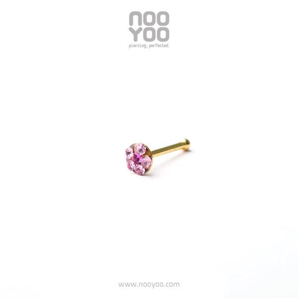 (30206) จิวจมูก Daisy Nose Barbell OCT Rose / Fuchsia Gold Plated