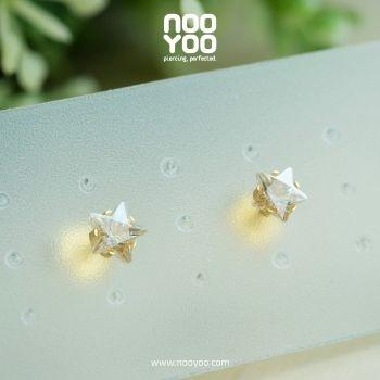 (30178) Cubic Zirconia 5mm Star Cut Gold Plated
