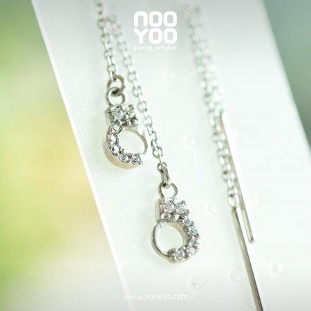 (30840) ต่างหู Dangling Cubic Zirconia Handcuff Surgical Steel