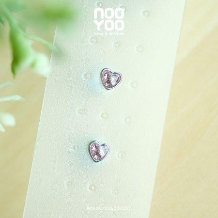 (30781) ต่างหู Mini Heart Light Rose Surgical Steel