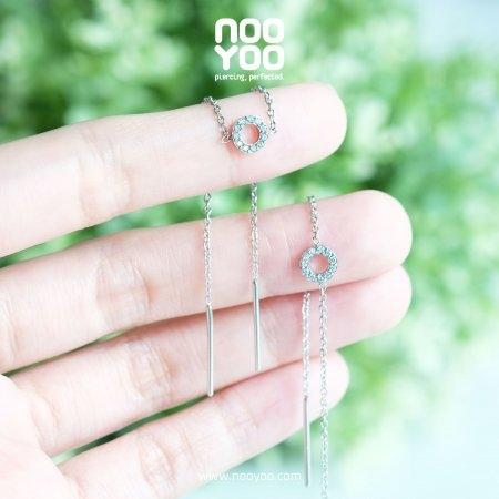 (30843) ต่างหู Donut CZ Slave for 2 holes Surgical Steel