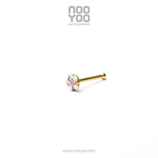 (30201) จิวจมูก Daisy Nose Barbell AB Crystal/ OCT Rose Gold Plated (code: 30201)