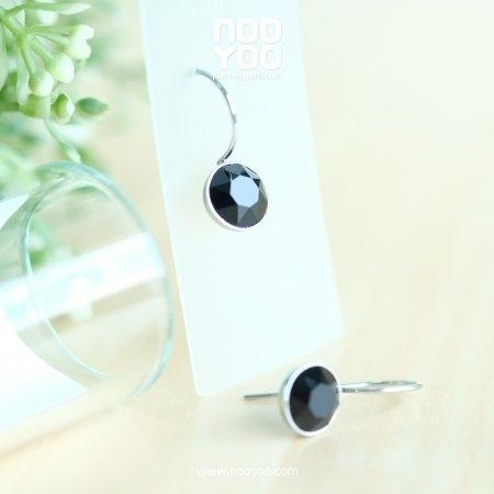 (30739) ต่างหู Hanging Jet Crystal 8mm
