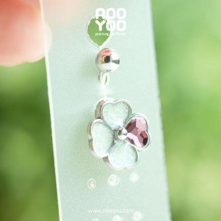 (30823) จิวสะดือ 4-Leaf Clover Opal/Pink Crystal