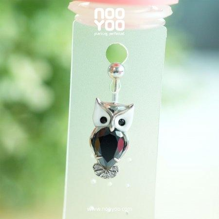 (30826) จิวสะดือ Jet Crystal Owl Surgical Steel