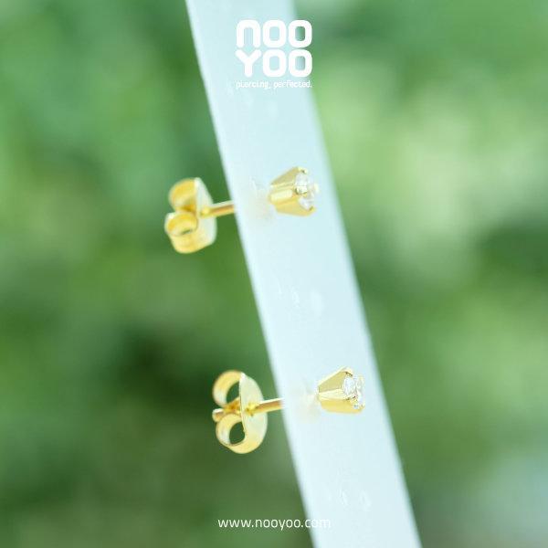 (30088) ต่างหู Cubic Zirconia 3mm Gold Plated