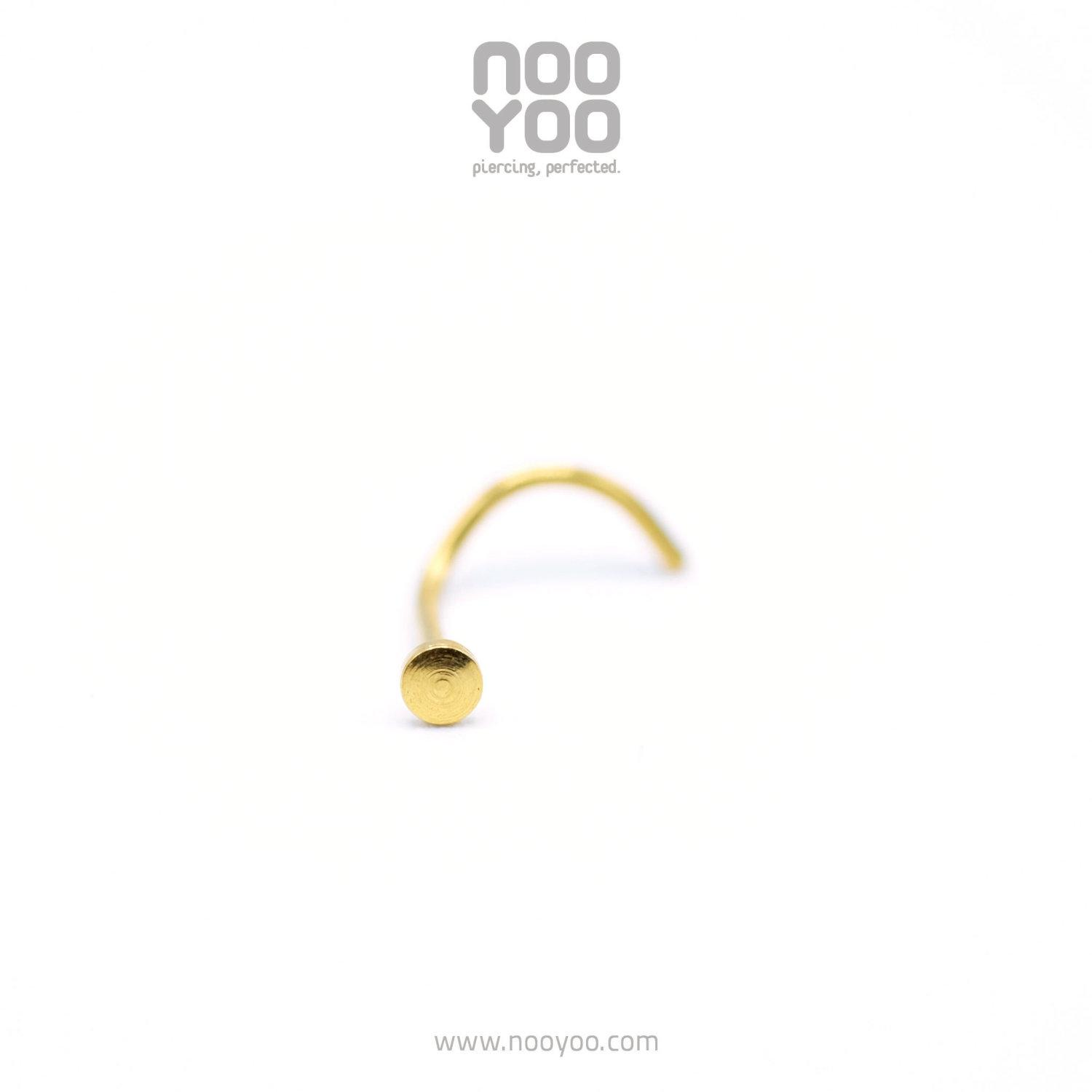 (30672) จิวจมูก Nose Pig Tail Flat Card Gold Plated