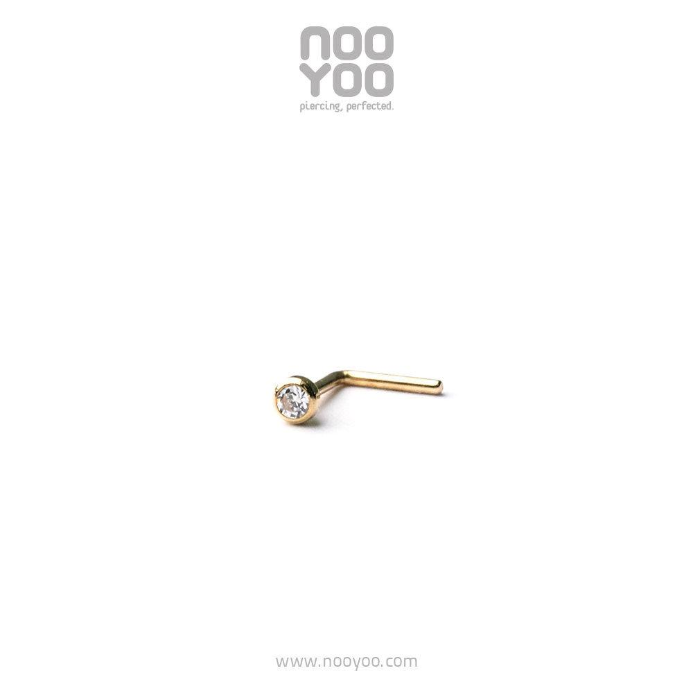 (30237) จิวจมูก Mini Nose Stud Cubic Zirconia - Hook 18k Gold Yellow