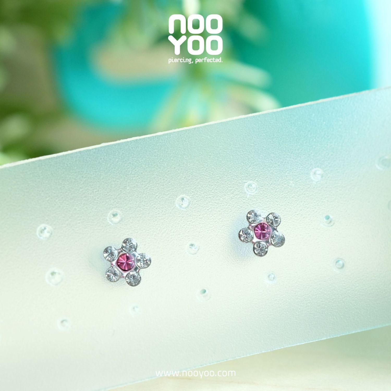 (30116) ต่างหู Daisy APR Crystal / OCT Rose Surgical Steel