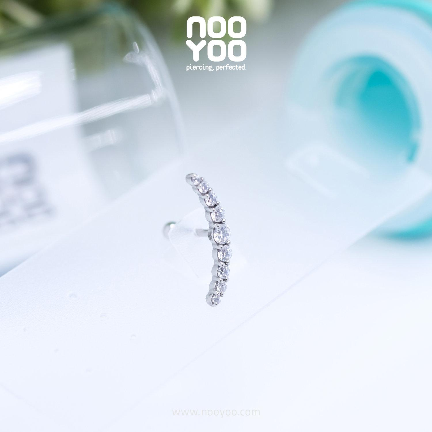(30889) จิวหู Micro Crescent Crystal Surgical Steel (1 ชิ้น)