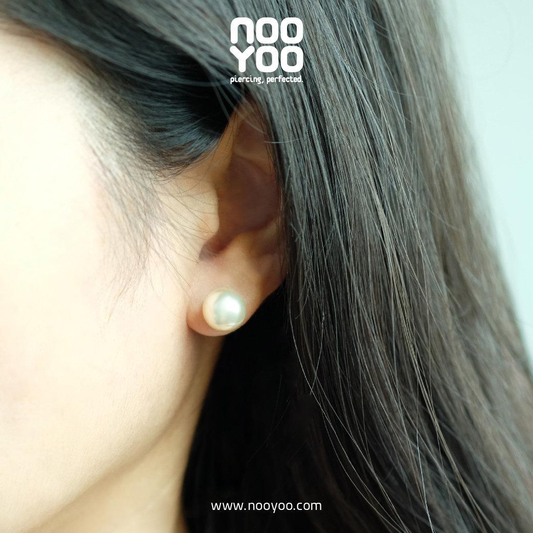 (30187) ต่างหู White Pearl 10mm Gold Plated