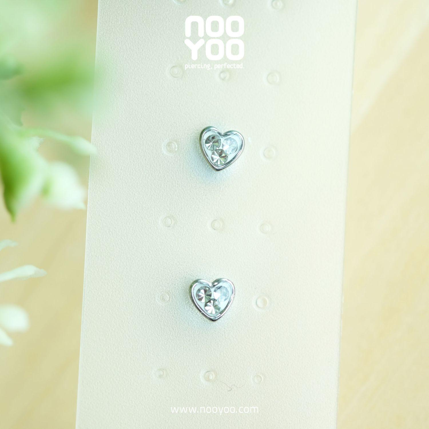 (30780) ต่างหู Mini Heart Crystal Surgical Steel