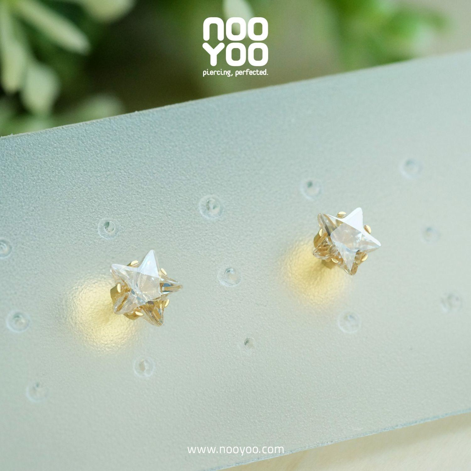 (30178) ต่างหู Cubic Zirconia 5mm Star Cut Gold Plated