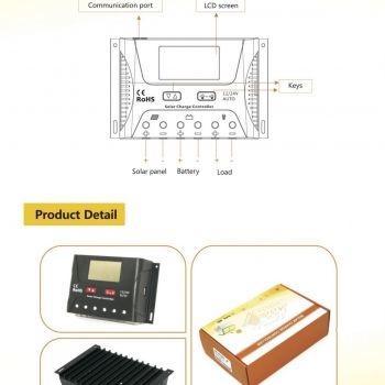 ตัวควบคุมการชาร์ท 60 แอมป์ Solar Controller Charger 60A