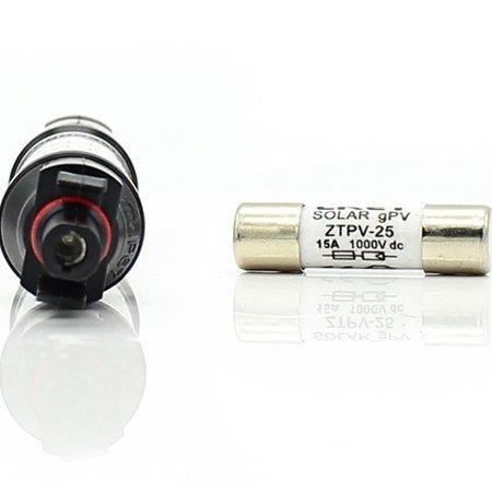 หัวต่อเชื่อมฟิวส์กระแสตรง 15 แอมป์ MC4 In-line Fuse Connector 1000V DC Male to Female PV Solar Fuse Holder Protection 15A