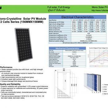 แผงโซลาร์เซลล์ 320 วัตต์(ฟูโซล่าร์) Solar PV Panal Fullsolar 320 W
