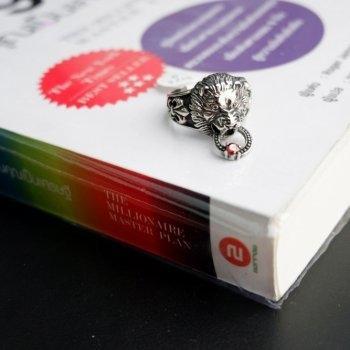 #9 แหวนสแตนเลส หัวสิงโต คาบแหวน P223