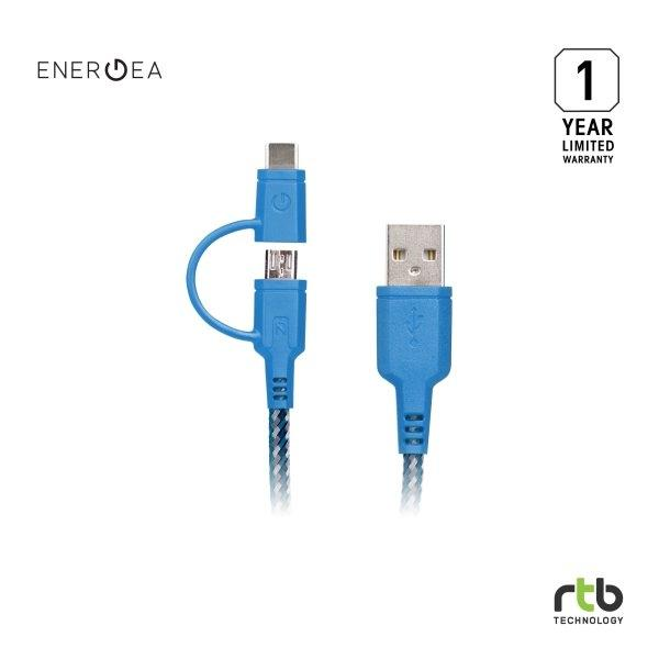 Energea สายชาร์จ Cable NyloTough 2 IN 1 USB C + Micro USB 1.5M - Blue