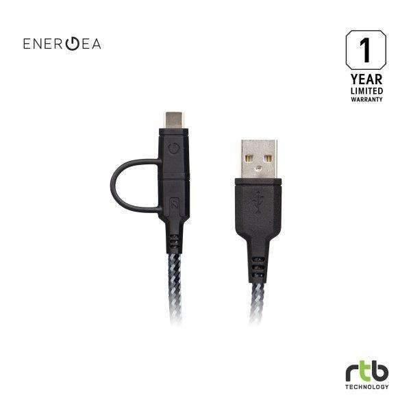 Energea สายชาร์จ Cable NyloTough 2 IN 1 USB C + Micro USB 1.5M - Black