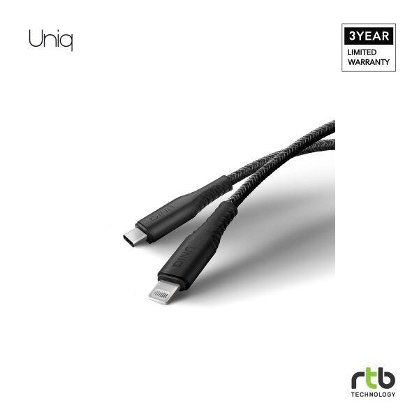 Uniq สายชาร์จ USB-C to Lightning 1.2M รุ่น Helix Antimicrobial - Black
