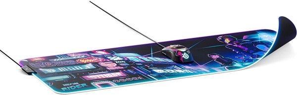 SteelSeries แผ่นรองเมาส์ เกมมิ่ง RGB รุ่น QcK Prism Cloth Neon Rider Edition Gaming Mouse Pad - Size XL