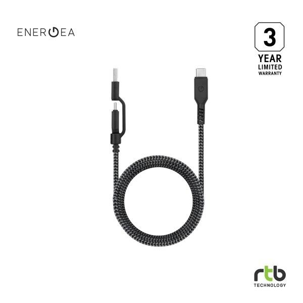 Energea สายชาร์จ Cable FibraTough 2 IN 1 2.0 USB-C TO USB C/A 1.5M - Black