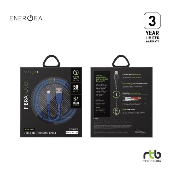 Energea สายชาร์จ Cable FibraTough Lightning MFi 1.5 - Blue