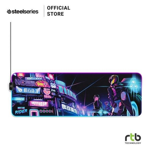 SteelSeries แผ่นรองเมาส์ เกมมิ่ง RGB รุ่น QcK Prism Cloth Neon Rider Edition Gaming Mouse Pad - Size XL