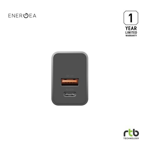 Energea หัวปลั๊ก Adapter Wall Charger Ampcharge PD20+ 2 USB (US) - Gunmetal