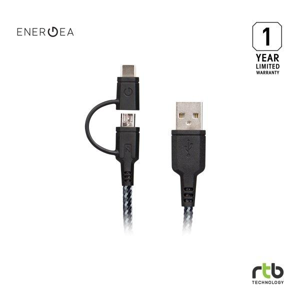 Energea สายชาร์จ Cable NyloTough 2 IN 1 USB C + Micro USB 1.5M - Black