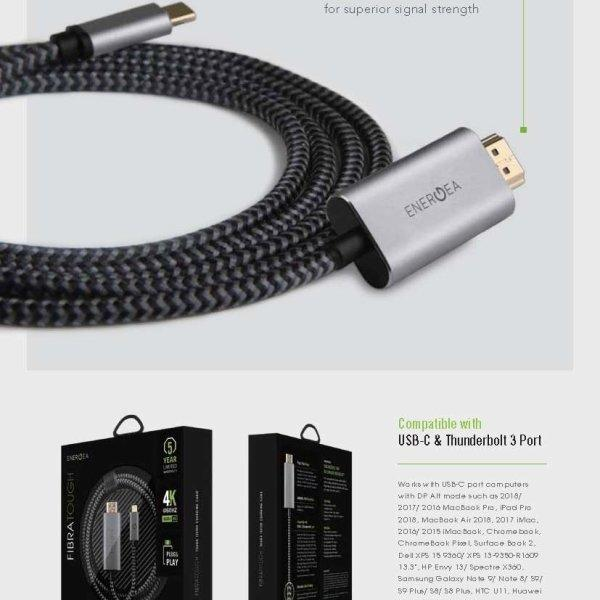 ENERGEA สาย Cable FibraTough USB C to HDMI