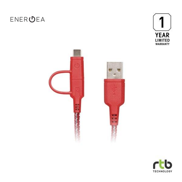Energea สายชาร์จ Cable NyloTough 2 IN 1 USB C + Micro USB 1.5M - Red