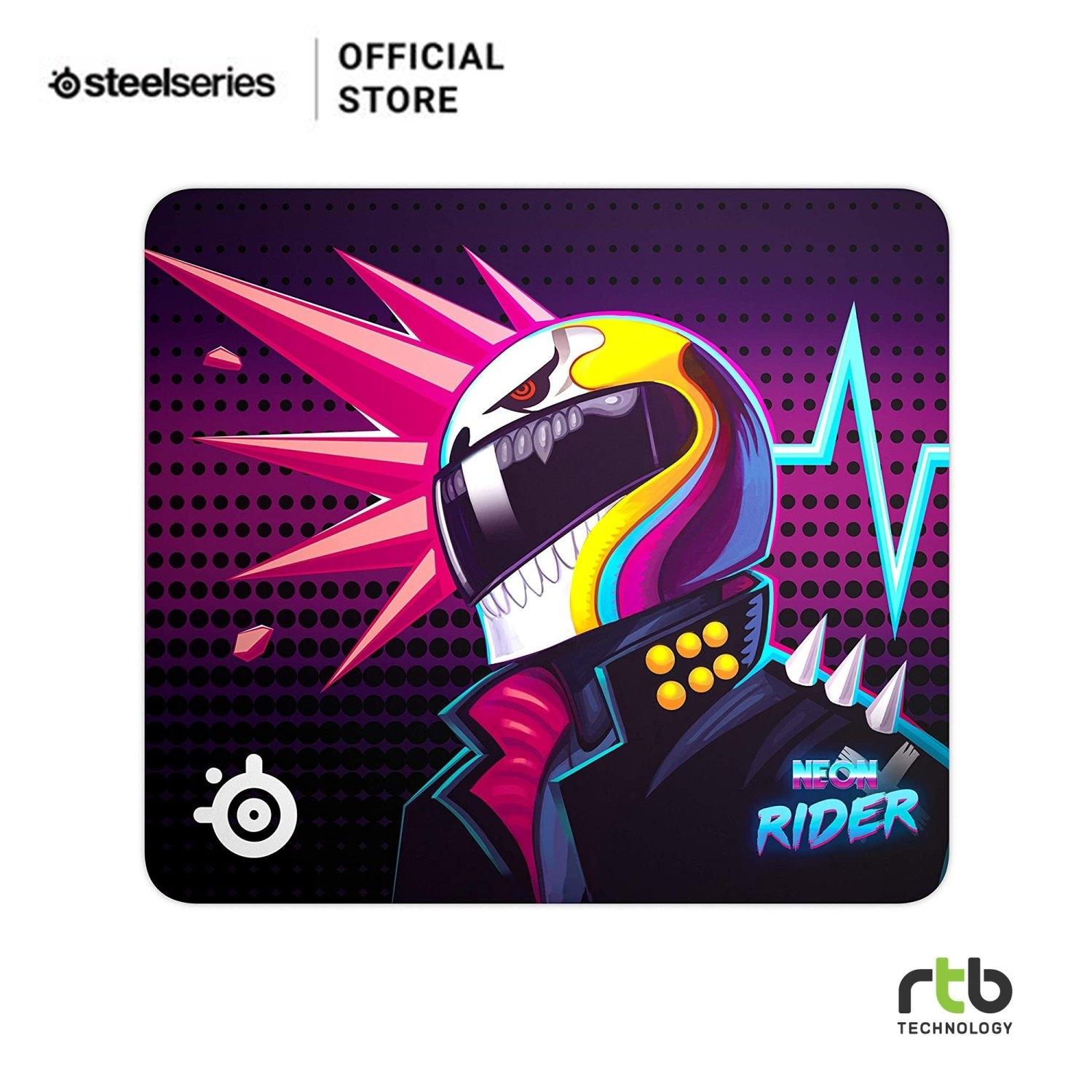SteelSeries แผ่นรองเมาส์ รุ่น QcK Large Neon Rider Edition Cloth Gaming Mouse Pad - Size L