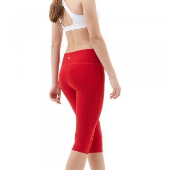 CWYP21-RED: สีแดง ขาสามส่วน ขอบเอวกลาง (Capri Mid Waist)