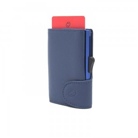 C-SECURE RFID Classic Leather Coin-Wallet Blu Marino/ Navy Card holder