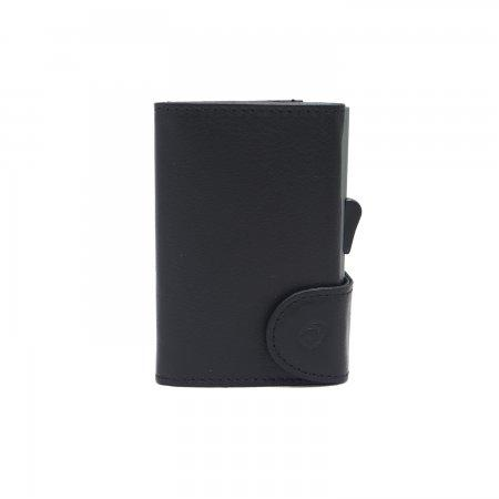 C-SECURE RFID Classic Leather Coin-Wallet Nero Black/ Grey Card holder