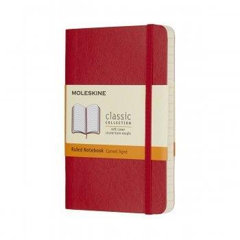 MOLESKINE NOTEBOOK POCKET RULED SCARLET RED SOFT COVER QP611F2