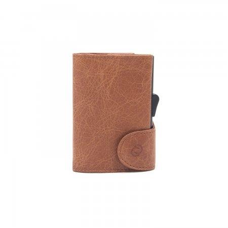 C-SECURE RFID Vintage Leather Coin-Wallet Cognac/ Black Card holder