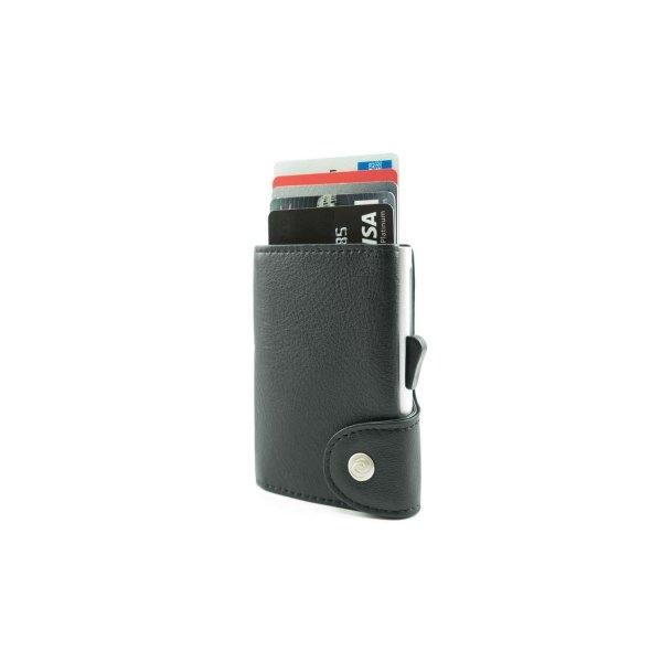 C-SECURE RFID Classic Leather Wallet Nero Black/ Silver Card holder