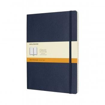 MOLESKINE NOTEBOOK XL RULED SAPPHIRE BLUE SOFT COVER QP621B20