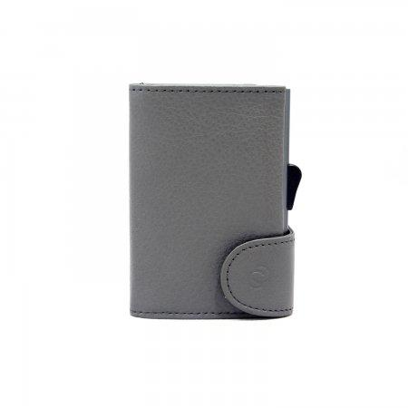 C-SECURE RFID Classic Leather Coin-Wallet Fog/ Grey Card holder
