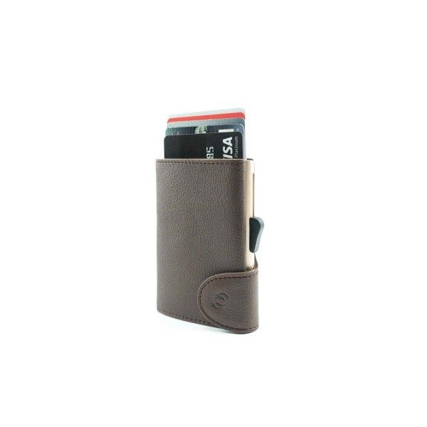 C-SECURE RFID Classic Wallet Dark Brown/ Champagne Gold Card holder