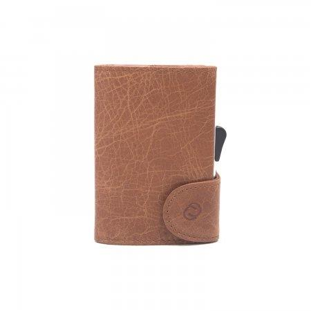 C-SECURE RFID Vintage Leather Coin-Wallet Cognac/ Silver Card holder