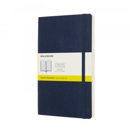 MOLESKINE NOTEBOOK LARGE SQUARE SOFT COVER SAPPHIRE BLUE QP617B20