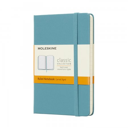 MOLESKINE NOTEBOOK POCKET RULED HARD COVER REEF BLUE MM710B35