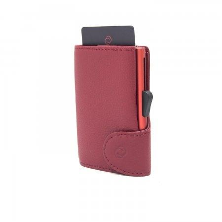 C-SECURE RFID Classic Leather Coin-Wallet Ciliegia/ Coral Red Card holder