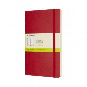 MOLESKINE NOTEBOOK LARGE PLAIN SCARLET RED SOFT COVER QP618F2